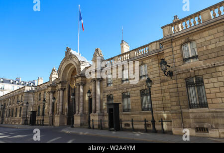 View of entrance gate of the Elysee Palace from the Rue du Faubourg Saint-Honore . Elysee Palace - official residence of President of French Republic - Stock Image