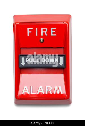 Red Metal Fire Alarm Isolated on White Background. - Stock Image