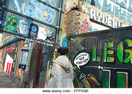 Street scene of graffiti and urban art, in Stokes Croft, Bristol, UK. - Stock Image