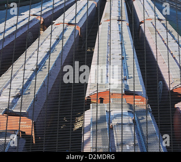 freight trains sitting on tracks - Stock Image