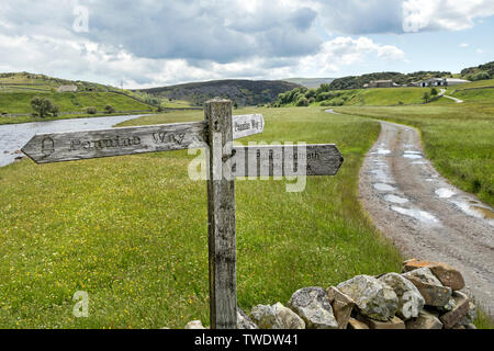 Pennine Way Footpath Sign Pointing Across the Wild Flower Hay Meadows at Cronkley Bridge, Forest-in-Teesdale, County Durham, UK - Stock Image