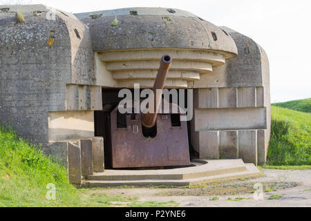 Longues-sur-Mer, Normandy, France, May 15, 2018, Remains of the german Battery which was captured on June 07 1944, Bunker and Artillery Guns - Stock Image