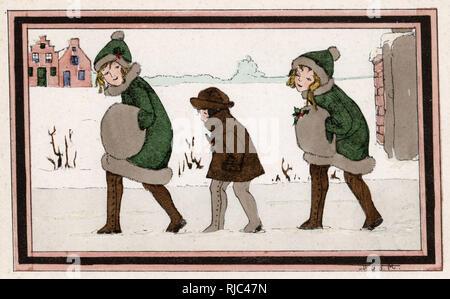 Christmas scene - Three Dutch girls walk through the snow. - Stock Image