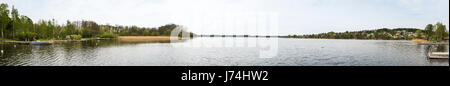 Panoramic view of Lake Mälaren, near Sigtuna, Stockholm County, Sweden - Stock Image