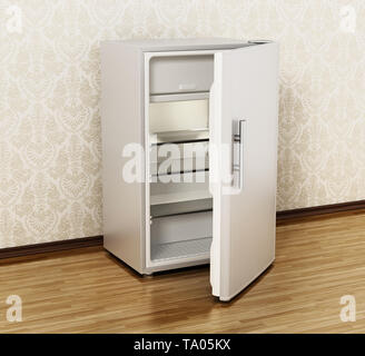 Small size hotel refrigerator standing on parquet floor. 3D illustration. - Stock Image
