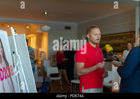 Stockholm, Sweden, August 7, 2018. Sweden Democrats unveil election posters. Press Manager Henrik Vinge (SD) meets the press. Credit: Barbro Bergfeldt/Alamy Live News - Stock Image