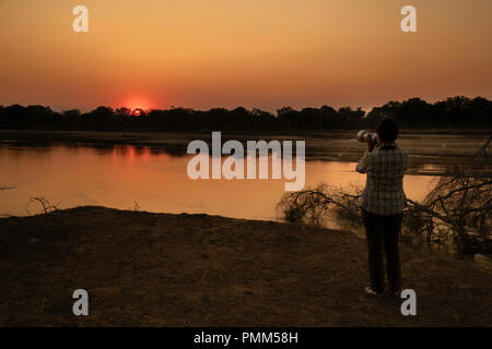 Sunset over the Luangwa River, South Luangwa, Zambia - Stock Image