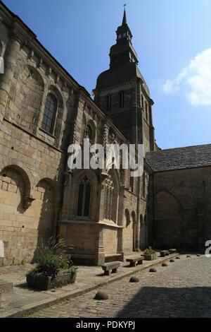 View of Basillic Saint Saveur from Place Saint Saveur, Dinan, Cotes d'armor, Brittany, France - Stock Image