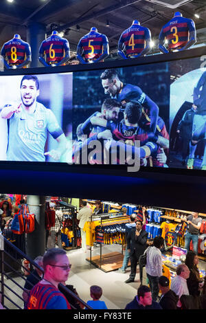 Inside the boutique store of FC Barcelona outside Camp Nou stadium - Stock Image