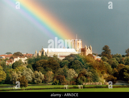 Rainbow Over St Albans Cathedral, St Albans, Hertfordshire, UK - Stock Image