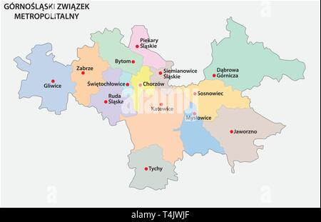 Map of the Metropolitan Association of Upper Silesia and the Dabrowa Basin in Poland - Stock Image