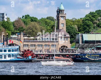 Hamburg, Landungsbruecken, starting place for cruise trips through the harbor, river Elbe, St. Pauli, Hamburg, Germany - Stock Image