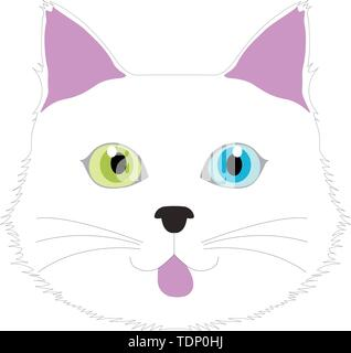 White cat with Multicolored eyes in a humorous facial expression, computer graphics, cg, vector, vectors - Stock Image