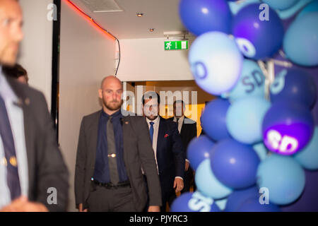 Stockholm, Sweden, September 9, 2018. Swedish General Election 2018.  Election Night Watch Party for Sweden Democrats (SD) in central Stockholm, Sweden. Jimmie Akesson arrives. Credit: Barbro Bergfeldt/Alamy Live News - Stock Image