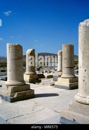 Pasargadae, Iran. Ruins of the Great's private Palace. It was the private palace of Cyrus the Great, Achaemenid king of Persia (559-530 BC), the founder of the Achaemenid Empire. Pasargadae was the capital of the Achaemenid Empire under Cyrus the Great, who had issued its construction. - Stock Image
