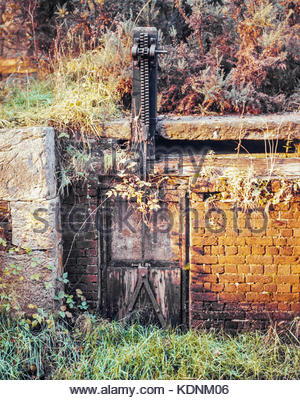 Disused Basingstoke Canal – a derelict lock  near Pirbright, Surrey, UK – 1968 - Stock Image