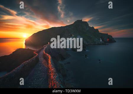 san juan de gaztelugatxe at beautiful sunset - Stock Image