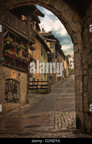 A quaint little back street in the beautiful Lac de Annecy in the French Alps - Stock Image