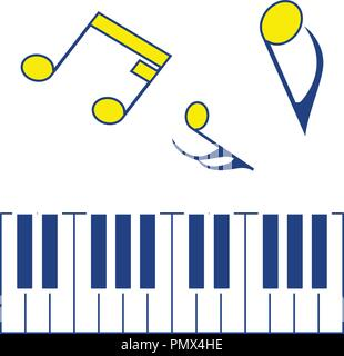 Icon of Piano keyboard. Thin line design. Vector illustration. - Stock Image