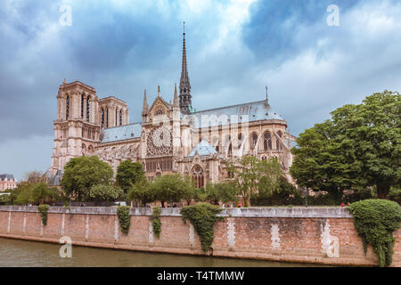 The southern facade of Cathedral of Notre Dame de Paris, roof and spire destroyed in a fire in 2019, Paris, France - Stock Image