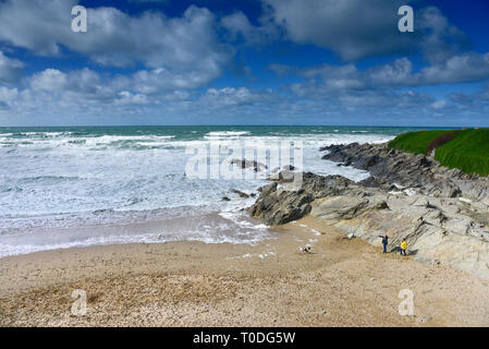 Fistral Beach in Newquay in Cornwall. - Stock Image