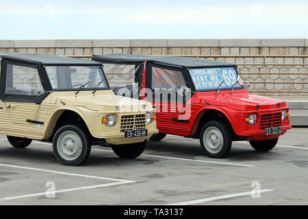 Nice, France - May 21, 2019: Two Citroen Mehari (Front View), French Retro Cars Parked In A Parking Lot In Nice On The French Riviera - Stock Image