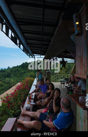 People drink in Samui island observation deck, Thailand - Stock Image
