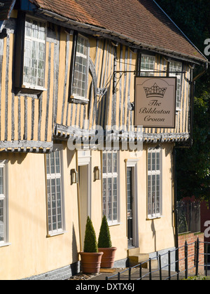The Bildeston Crown, hotel, restaurant and pub bar in Bildeston, Suffolk England. 15th century coaching inn renovated in 2003. - Stock Image