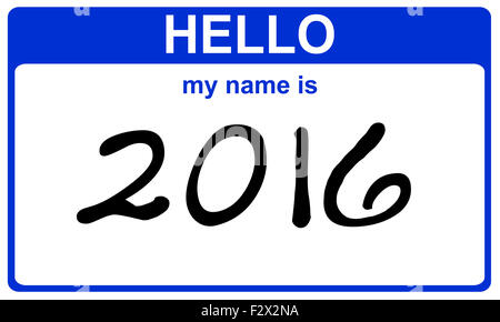 hello my name is 2016 blue sticker - Stock Image
