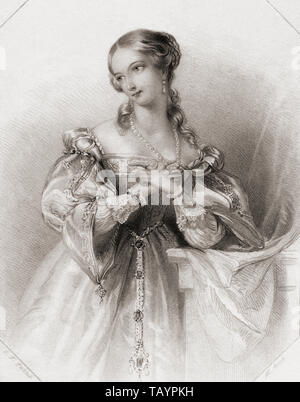 Juliet.  Principal female character from Shakespeare's play Romeo and Juliet.  From Shakespeare Gallery, published c.1840. - Stock Image