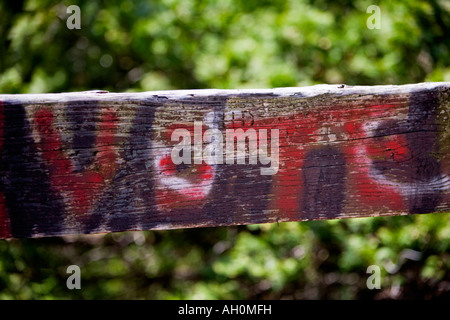 Vote painted in red on a wooden rail - Stock Image