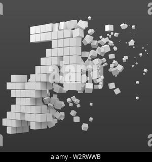 sagittarius zodiac sign shaped data block. version with white cubes. 3d pixel style vector illustration. suitable for blockchain, technology, computer - Stock Image