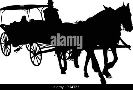 vintage carriage silhouette - vector - Stock Image