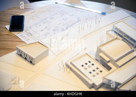 Blueprints and model building - Stock Image