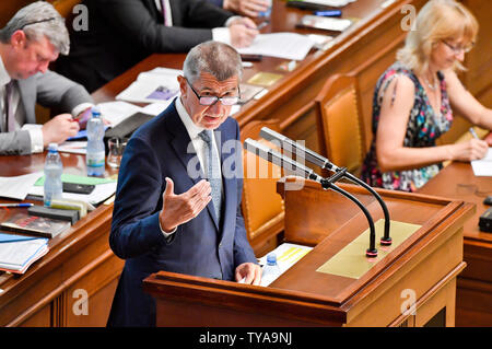 Prague, Czech Republic. 26th June, 2019. Czech Prime Minister Andrej Babis speaks during the Chamber of Deputies meeting to hold no-confidence vote in Babis's government, triggered by five opposition parties, in Prague, Czech Republic, on June 26, 2019. Credit: Vit Simanek/CTK Photo/Alamy Live News - Stock Image