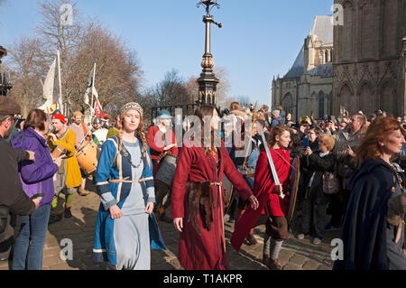 Procession of people in costume at the Viking Festival York North Yorkshire England UK United Kingdom GB Great Britain - Stock Image