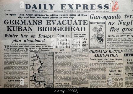 Front page headlines of the Daily Express newspaper 'Germans Evacuate Kuban Bridgehead'  London England UK on September 23 1943 - Stock Image