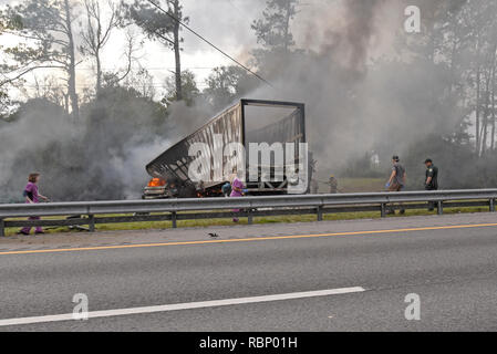 Wreck on Interstate 75 near Gainesville, Florida, that killed 7 people including 5 children from a church in Louisiana. - Stock Image