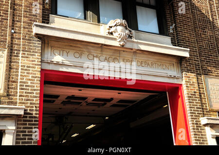 Historic Chicago, Illinois Firehouse built in 1915. - Stock Image