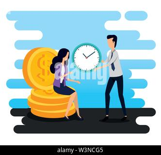 businesswoman sitting in the coins and businessman with clock - Stock Image