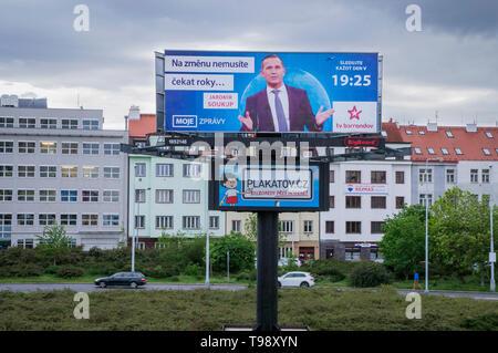 Billboard shows Czech TV Barrandov owner Jaromir Soukup advertising his TV show 'MY NEWS', Prague, Czech Republic, May 14, 2019. (CTK Photo/ Libor Soj - Stock Image