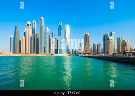 Dubai Marina is an artificial canal city and a district in Dubai in UAE - Stock Image