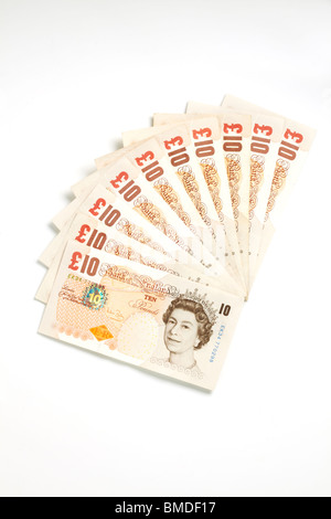 One Hundred Pounds in Ten Pound Notes - Stock Image