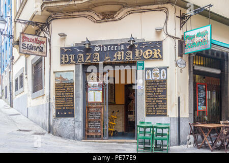 Gijon, Spain - 6th July 2018: The Plaza Mayor Sidreria. The bar sells cider and other drinks - Stock Image
