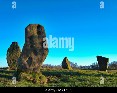 The Grey Ladies / Nine Stone Close Stone Circle, Robin Hood's Stride near Elton, Alport & Birchover south - Stock Image