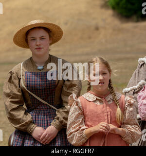 Duncan Mills, CA - July 14, 2018: Women at the civil war dressed in costumes. The Civil War Days is one of the largest reenactment events on the West  - Stock Image