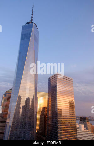 One World Trade Centre during a sunrise in Summer, New York, NY, USA, United States of America. - Stock Image