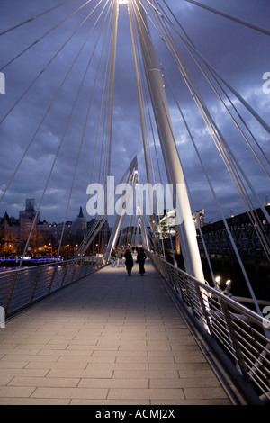 On the Hungerford Bridge London - Stock Image