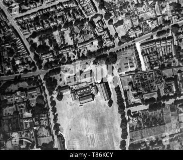A black and white aerial photograph taken on 21st June 1921 showing Cheltenham College, and the surrounding area, in Gloucestershire, England. - Stock Image
