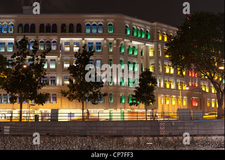 Multi colored illuminations Clarke Quay Singapore Malaysia - Stock Image